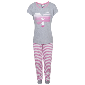Spurs Girls 1-6 Years Stripe Heart PJ Set