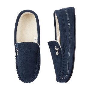 Spurs Mens Navy Moccasin Slippers