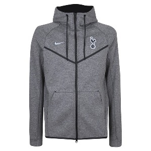 Spurs Mens Light Grey Tech Fleece Hooded Track Top